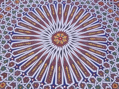 Colorful Geometric Pattern on Hand-painted Table, Morocco-John & Lisa Merrill-Photographic Print