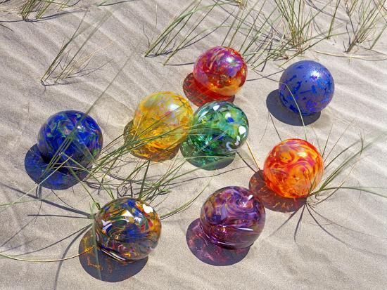 Colorful Glass Floats on Sand Dune, Oregon, USA-Jaynes Gallery-Photographic Print