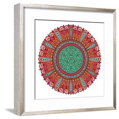 Colorful Hand Drawn Flower with Blue and Pink Ornate Petal-tairen-Framed Premium Giclee Print