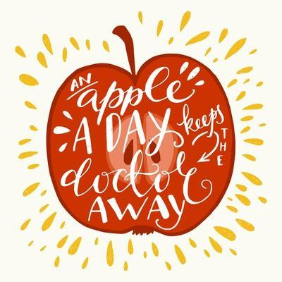 Colorful Hand Lettering Illustration of 'An Apple a Day Keeps the Doctor Away' Proverb. Motivationa Art Print by TashaNatasha |