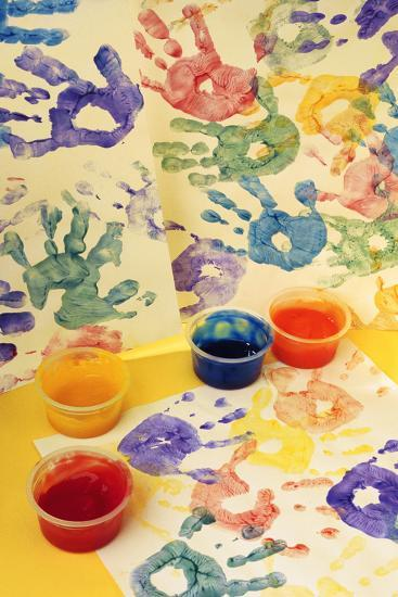 Colorful Handprints and Cups of Paint-Comstock-Photographic Print