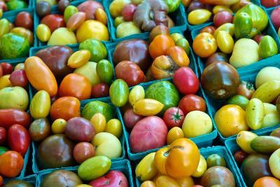 Colorful Heirloom Tomatoes at a Farmers' Market-Kike Calvo-Premium Photographic Print