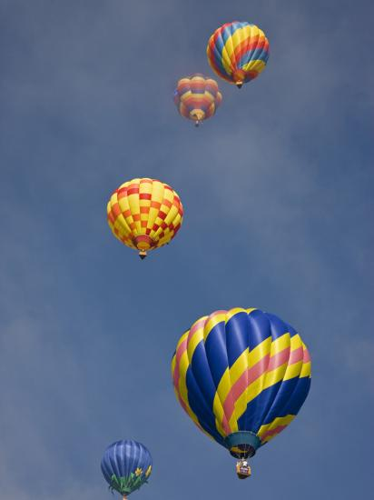 Colorful Hot Air Balloons Decorate the Morning Sky, Colorado Springs, Colorado, USA-Don Grall-Photographic Print