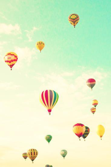 Colorful Hot Air Balloons in a Green Mint Summer Sky-Andrekart Photography-Photographic Print