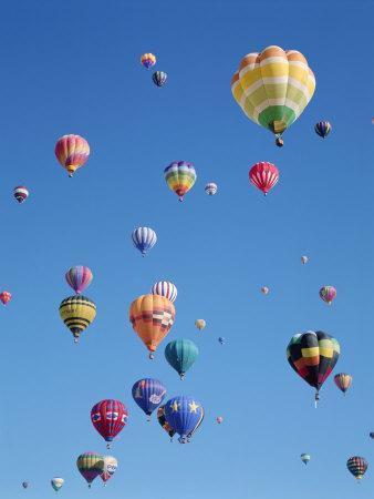 Colorful Hot Air Balloons in Sky, Albuquerque, New Mexico ...