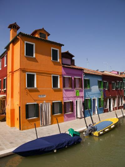 Colorful Houses and Boats on Canal-Dennis Walton-Photographic Print