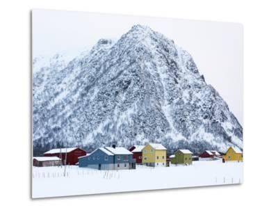 Colorful Houses in Front of a Mountain in Winter-Sergio Pitamitz-Metal Print