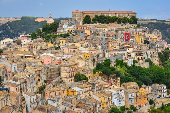 Colorful Houses in Old Medieval Village Ragusa in Sicily-MartinM303-Photographic Print