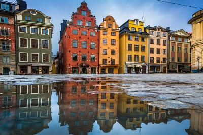 Colorful Houses in Stockholm's Gamla Stan Old Town District, Sweden-lbryan-Premium Photographic Print