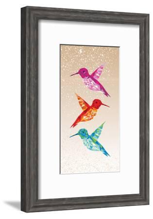 Colorful Humming Birds Illustration-cienpies-Framed Art Print