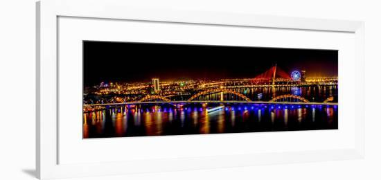 Colorful illumination of Dragon Bridge over Han River, Tet Festival, New Year celebration, Vietnam.-Tom Norring-Framed Photographic Print
