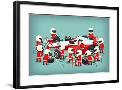 Colorful Illustration with Pit Stop Workers and Engineers Maintaining Technical Service for a Racin- snegok13-Framed Art Print