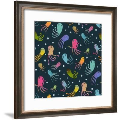 Colorful Kids Cartoon Octopus Dark Seamless Pattern Background. Childish Animals Cute Black and Col-Popmarleo-Framed Premium Giclee Print