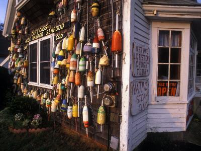 Colorful Lobster Pot Floats Adorning the Wall of a Seafood Shack-Darlyne A^ Murawski-Photographic Print