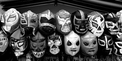 Colorful mask at market a stall, Olvera Street, Downtown Los Angeles, Los Angeles, California, USA--Photographic Print