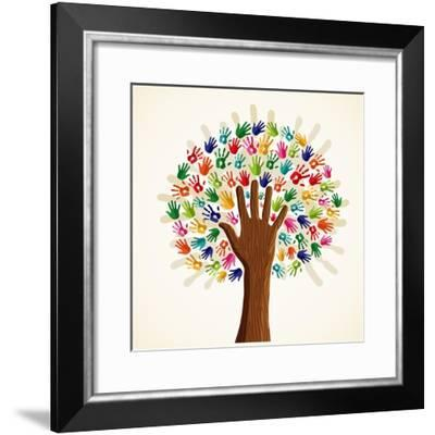 Colorful Multi-Ethnic Tree-cienpies-Framed Premium Giclee Print