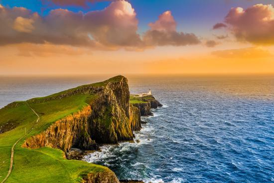 Colorful Ocean Coast Sunset at Neist Point Lighthouse, Scotland-MartinM303-Photographic Print