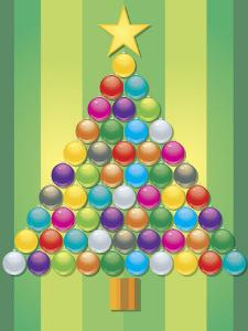 Colorful Ornaments Arranged Like Christmas Tree