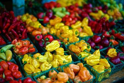 Colorful Peppers for Sale at a Farmers' Market-Kike Calvo-Premium Photographic Print