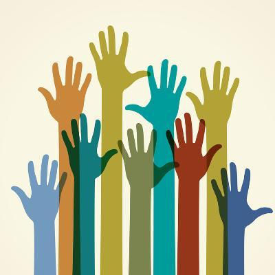 Colorful Raised Hands. the Concept of Diversity. Group of Hands. Giving Concept. This Work - Eps10-VLADGRIN-Art Print