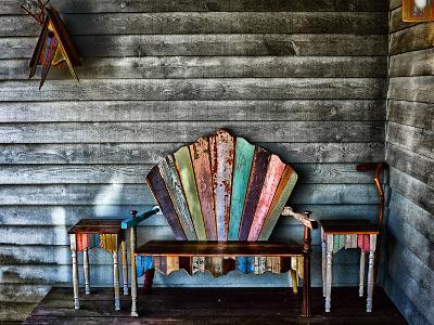 Colorful Re-purposed Tables and Bench on a Porch. Processed with a Detail Extractor Filter-Amy & Al White & Petteway-Photographic Print