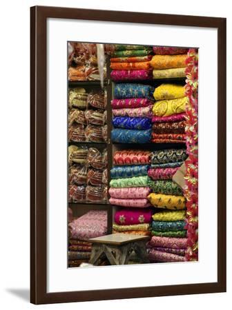 Colorful Sari Shop in Old Delhi Market, Delhi, India-Kymri Wilt-Framed Photographic Print
