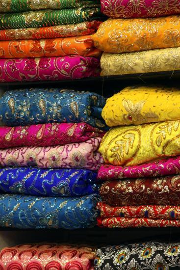 Colorful Sari Shop in Old Delhi Market, Delhi, India-Kymri Wilt-Photographic Print