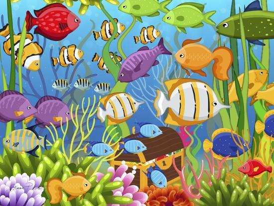 Colorful Sea Life-Jean Plout-Giclee Print