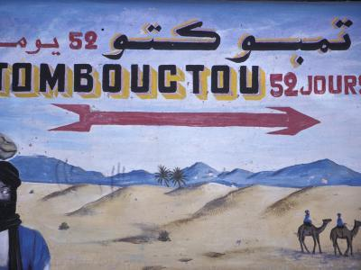 Colorful Sign Showing Way to Timbuktu, Morocco-John & Lisa Merrill-Photographic Print