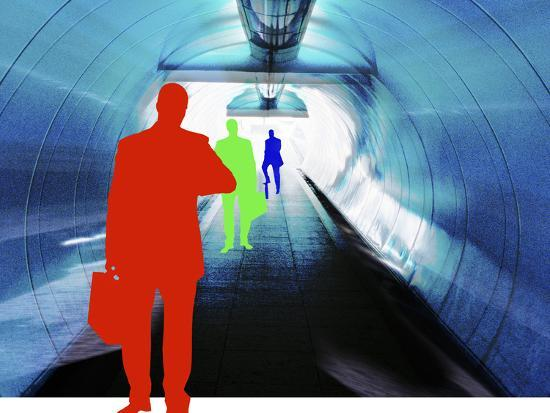 Colorful Silhouettes of Businessmen Looking at Watches in Subway Tunnel--Photographic Print