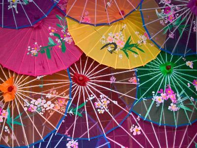 Colorful Silk Umbrellas, China-Keren Su-Photographic Print
