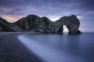 Colorful Sky at Dawn over Durdle Door Along the Jurassic Coast, Dorset, England-Brian Jannsen-Photographic Print