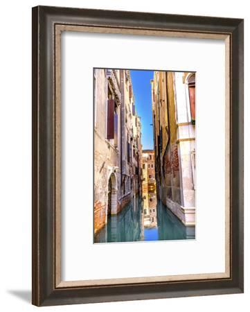Colorful small canal building reflection, Venice, Italy-William Perry-Framed Photographic Print