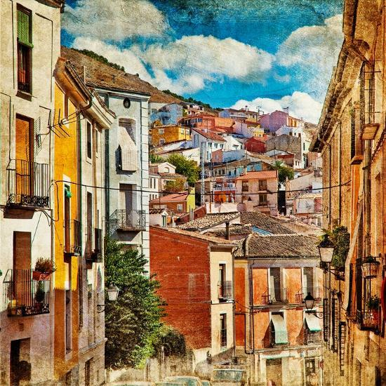 Colorful Spain - Streets And Buildings Of Cuenca Town - Artistic Picture-Maugli-l-Art Print