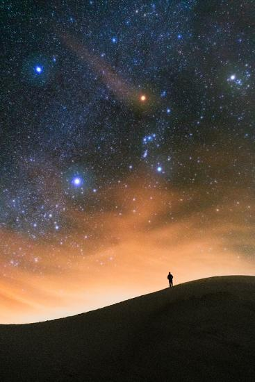 Colorful stars sky in White Sands Monument over Sand Dunes with silhouette and horizon air glow-David Chang-Photographic Print