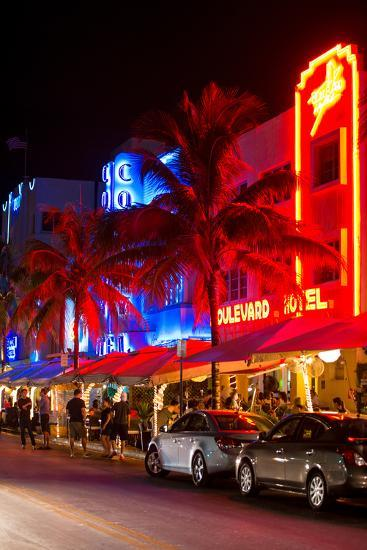 Colorful Street Life at Night - Ocean Drive - Miami-Philippe Hugonnard-Photographic Print