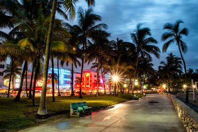 Colorful Street Life - Ocean Drive by Night - Miami-Philippe Hugonnard-Photographic Print