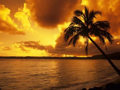 Colorful Sunrise in a Tropical Paradise, Kauai Hawaii, USA-Jerry Ginsberg-Photographic Print