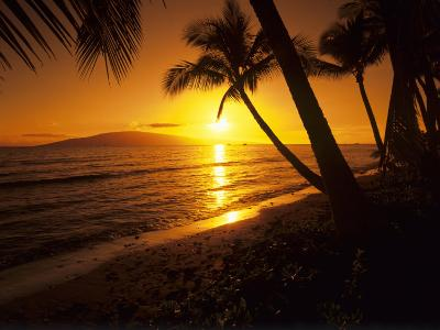 Colorful Sunset in a Tropical Paradise, Maui Hawaii, USA-Jerry Ginsberg-Photographic Print