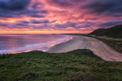 Colorful Sunset over the Beach in Rhossili on the Gower Peninsula, Wales, United Kingdom-Frances Gallogly-Photographic Print