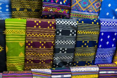 Colorful Traditional Cloth for Sale, Paro, Bhutan-Michael Runkel-Photographic Print