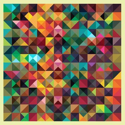 Colorful Triangles Modern Abstract Mosaic Design Pattern-Melindula-Art Print
