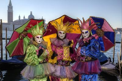 Colorful Trio Venice at Carnival Time, Italy-Darrell Gulin-Photographic Print