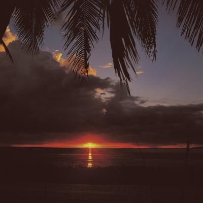 Colorful Tropical Sunset Over Dark Ocean--Photographic Print