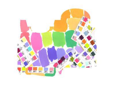 Colorful Water Color Squares--Art Print