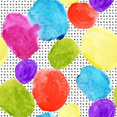 Colorful Watercolor Stains and Grunge Texture-tanycya-Art Print