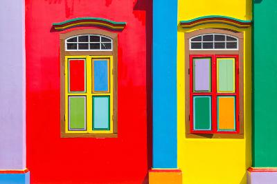 Colorful Windows and Details on A Colonial House in Little India, Singapore-platongkoh-Photographic Print