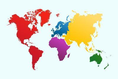 Colorful World Map-cienpies-Art Print