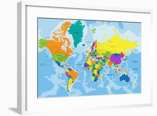 Colorful World Political Map with Clearly Labeled, Separated Layers. Vector Illustration.-Bardocz Peter-Framed Art Print