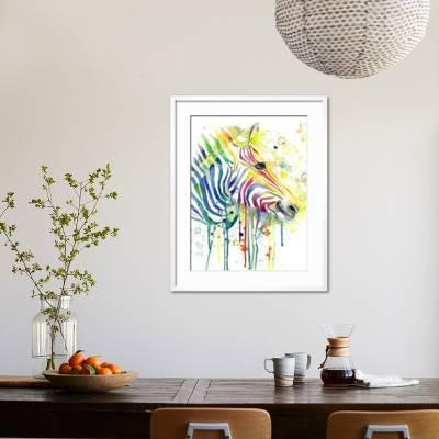 Colorful Zebra Wedge Frame Picture Canvas Animals Watercolour Modern Colourful Jin Jing